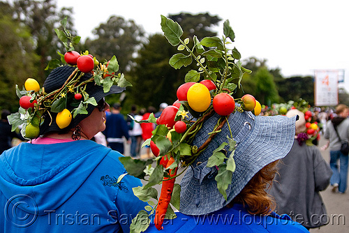 veggie hats, bay to breakers, costumes, festival, footrace, fruits, people, street party, tomatos, two, vegetables, veggies
