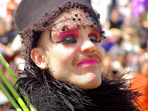 veil - pink makeup - eyelashes extensions, dolores park, easter, hunky jesus contest, man, people