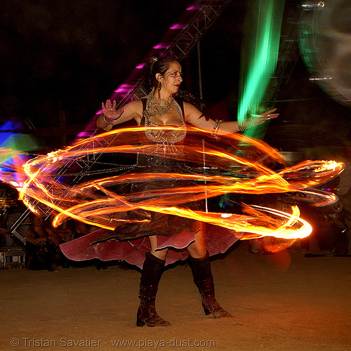 verica and her fire dress - burning man 2007, burning man, fire dress, flames, night, verica