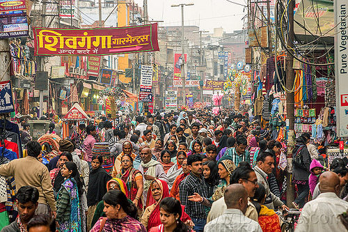 very crowded pedestrian market street (india), crowd, india, pedestrians, varanasi, walking
