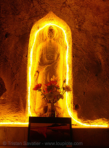 very old sculpture in cave - vietnam, caving, lang sơn, natural cave, sculpture, spelunking, tam thanh cave, tâm thành, yellow