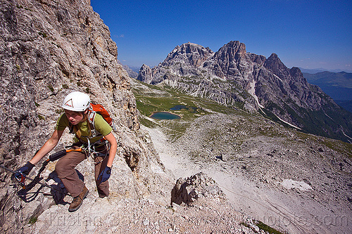 via ferrata to monte paterno, alps, climber, climbing harness, climbing helmet, dolomites, monte paterno, mountain climbing, mountaineer, mountaineering, mountains, parco naturale dolomiti di sesto, rock climbing, trail, via ferrata, woman