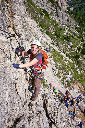 via ferrata tridentina - rock climbers, alps, cliff, climber, climbing harness, climbing helmet, dolomites, dolomiti, ferrata tridentina, mountain climbing, mountaineer, mountaineering, mountains, rock climbing, vertical, via ferrata brigata tridentina, woman