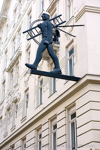vienna - shop sign - man with ladder, ladder, man, shop sign, vienna, wien