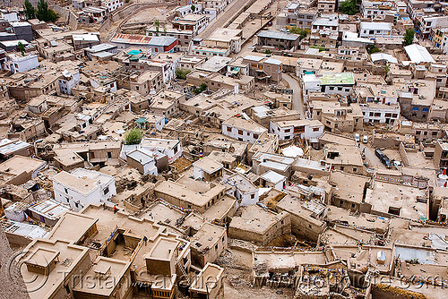 view from the palace - leh (india), aerial photo, architecture, buildings, cityscape, flat roofs, houses, india, ladakh, leh, mani wall, old city, urban development, लेह