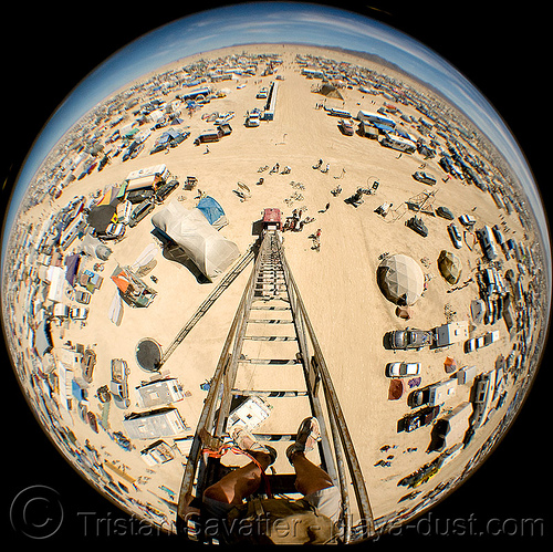 view from the top of the 80 feet (24m) high firetruck ladder - burning man 2008, circular fisheye lens, fire engine, fire truck, fire truck ladder, ladder fire truck, ladder truck