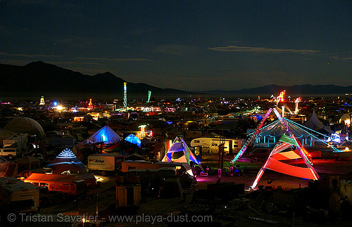 view of the city at night - burning man 2007, glowing, night