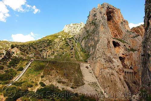 view of the railroad from el caminito del rey - el chorro gorge (spain), canyon, cliff, desfiladero de los gaitanes, el caminito del rey, el camino del rey, el chorro, gorge, mountain, mountaineering, pathway, trail, via ferrata