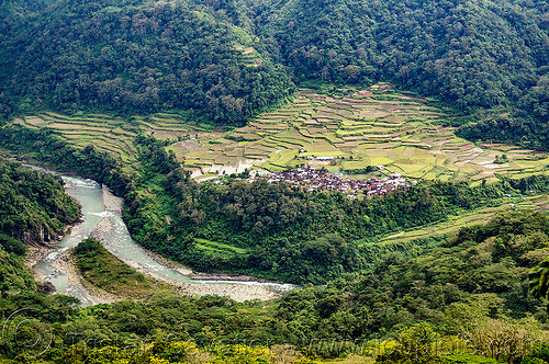 village and terraced fields in valley (philippines), agriculture, chico river, chico valley, cordillera, jungle, philippines, rice fields, rice paddy fields, river bend, terrace farming, terrace fields, village