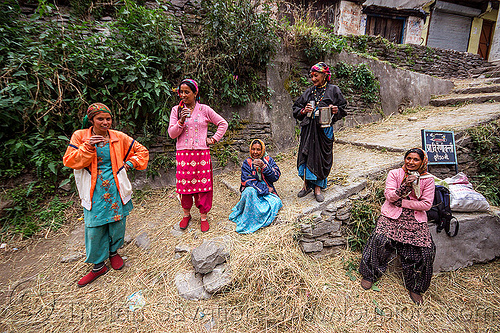 village women drinking chai (india), dhauliganga valley, hay, mountains, raini chak lata, sitting, stairs, standing, steps, village, women