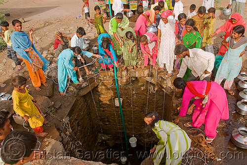 villagers around water well - ajanta (india), ajanta, buckets, communal water well, india, ropes, water jars, women