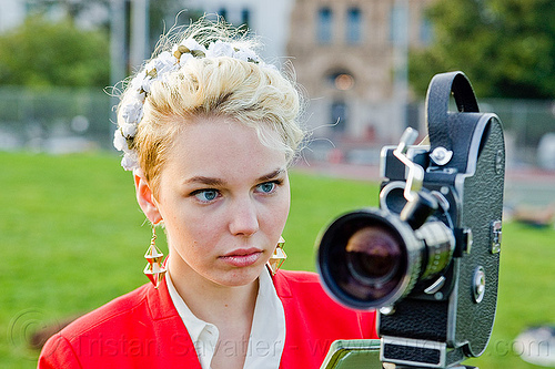 vintage bolex 16mm motion picture camera, 16mm camera, blonde, bolex, camera operator, dolores park, film camera, film making, hannah, motion picture camera, movie camera, woman