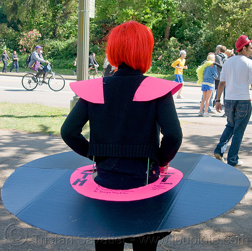 vinyl record costume, bay to breakers, costume, red wig, street party, vinyl record, woman