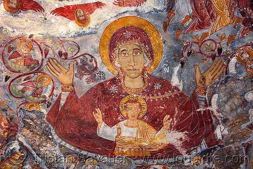 virgin mary and baby jesus - byzantine fresco painting - Sümela monastery (turkey), byzantine art, frescoes, orthodox christian, painting, religion, sacred art, sumela, sümela monastery, trabzon