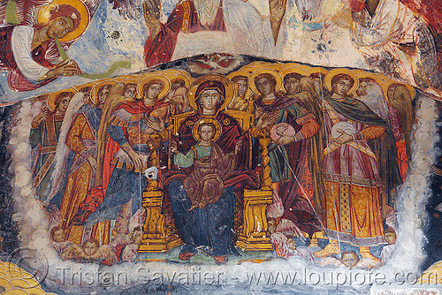 virgin mary and baby jesus - byzantine fresco - Sümela monastery (turkey), byzantine art, frescoes, orthodox christian, painting, religion, sacred art, sumela, sümela monastery, trabzon