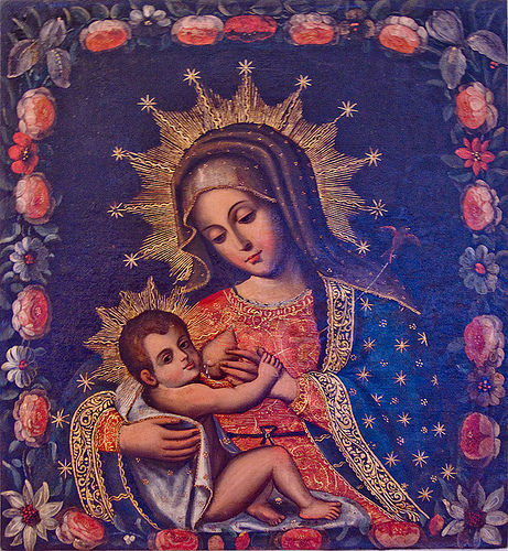 virgin mary breastfeeding baby jesus - nursing madonna, baby, breast, casa de la moneda, casa nacional de moneda, child jesus, drops, holy, infant jesus, jesus christ, madonna, mother, nipple, nursing, painting, potosí, religion, sacred art, virgin mary, woman breastfeeding