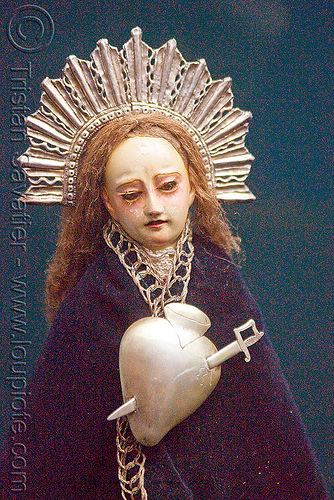 virgin mary with pierced silver heart, casa de la moneda, casa nacional de moneda, dagger, heart, madonna, metal, pierced, potosí, religion, sacred art, silver, statue, sword, virgin mary