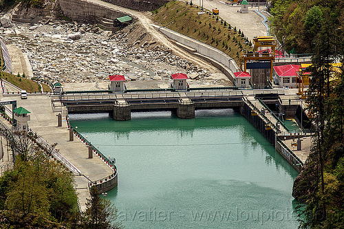 vishnuprayag hydro project dam (india), alaknanda river, alaknanda valley, hydro-electric, industrial, infrastructure, mountains, vishnuprayag dam, vishnuprayag hydro project, water