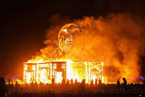 the vitruvian man is burning - burning man 2016, burning man, fire, night of the burn, the man, vitruvian man