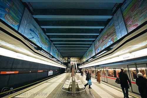 volkstheater subway station (vienna), metro station, subway station, symmetrical, underground station, vienna, volkstheater, wien
