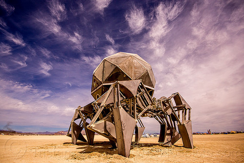 walking pod - walking machine - burning man 2015, articulated, clouds, legs, machinery, mechanical spider, metal, motorized spider, robot, scott parenteau, walking machine, walking pod art car