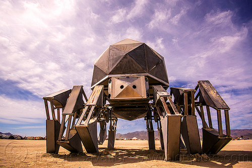 walking pod - giant walking spider robot - burning man 2015, articulated, legs, machinery, mechanical spider, metal, motorized spider, robot, scott parenteau, walking machine, walking pod art car