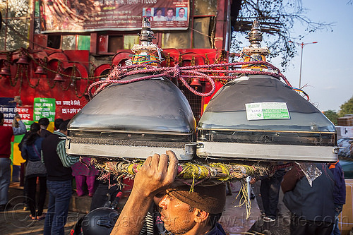 wallah carrying CRT screens on his head - delhi (india), bearer, carrying on the head, cathodic ray tubes, crt, delhi, electronics, india, man, porter, porting, recycling, rope, television, tv screens, wallah