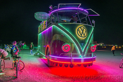walter - giant VW bus - burning man 2016, art car, burning man, glowing, minibus, mutant vehicles, night, project walter, riesenbus, volks wagen, vw bus, walter the bus
