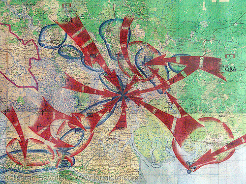 war map - battle of saigon - vietnam war, army, army museum, arrows, hanoi, ho chi minh city, maps, military, red, war maps
