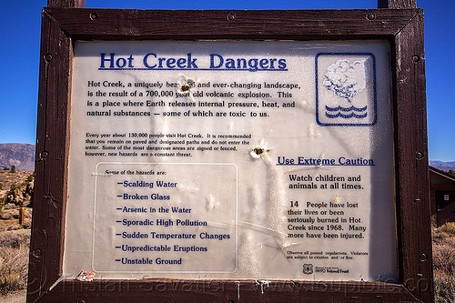 warning sign - hot creek dangers (california), california, caution, danger, eastern sierra, hot creek, hot springs, long valley caldera, mammoth lakes, river, warning sign