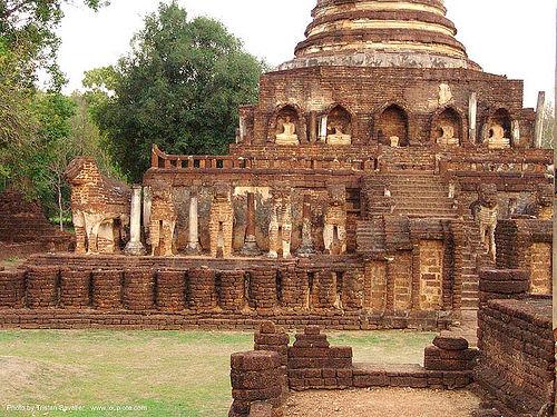 วัดช้างล้อม - wat chang lom - อุทยานประวัติศาสตร์ศรีสัชนาลัย - si satchanalai chaliang historical park, near sukhothai - thailand, amphoe si satchanalai, elephant sculpture, elephant statue, elephants, ruins, sculptures, temple, ประเทศไทย, วัดช้างล้อม, อุทยานประวัติศาสตร์ศรีสัชนาลัย