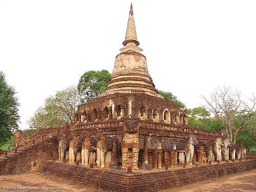วัดช้างล้อม - wat chang lom stupa - อุทยานประวัติศาสตร์ศรีสัชนาลัย - si satchanalai chaliang historical park, near sukhothai - thailand, amphoe si satchanalai, ruins, stupa, temple, wat chang lom, ประเทศไทย, วัดช้างล้อม, อุทยานประวัติศาสตร์ศรีสัชนาลัย