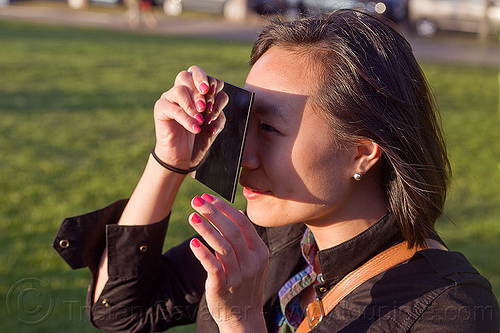 watching the transit of venus 2012, 2012, dolores park, eclipse, holding, leslie, planet venus, shade, shadow, solar filter, transit of venus, venus transit, watching, welding filter, woman