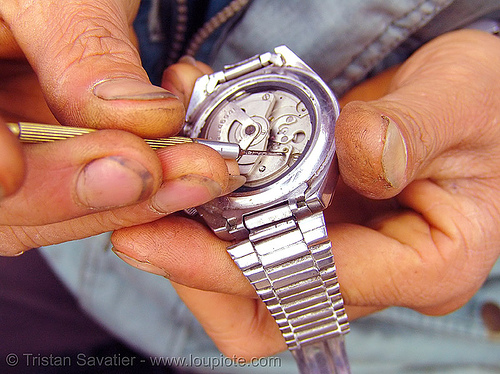 watchmaker fixing mechanical wristwatch, automatic watch, fixing, hill tribes, horologist, horology, indigenous, market, mechanical watch movement, mèo vạc, orient watch, repairing, timepiece, watchmaker, wristwatch