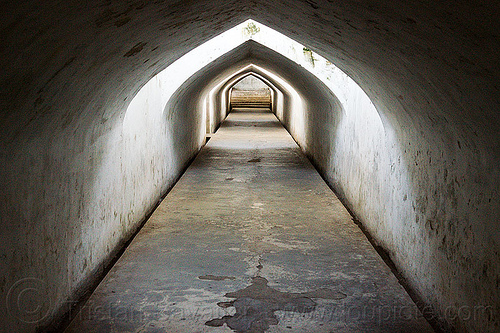 water palace tunnel in yogyakarta, java, jogja, jogjakarta, passage, shadows, taman sari, tunnel, vanishing point, water castle, water palace, yogyakarta