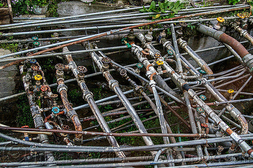 water pipes - indian plumbing (india), darjeeling, piping, plumbing, tangled, valves, water pipes