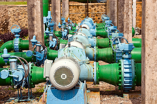 water pumps in geothermal power plant, electricity, energy, geothermal plant, industrial, pipes, power station, water pumps