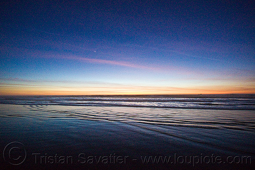 water ripples - ocean beach sunset (san francisco), ocean beach, planet venus, reflection, ripples, sea, seashore, shore, sunset