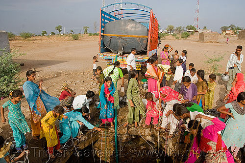 water well - ajanta (india), ajanta, communal water well, crowd, ropes, truck, water jars, water tank, women