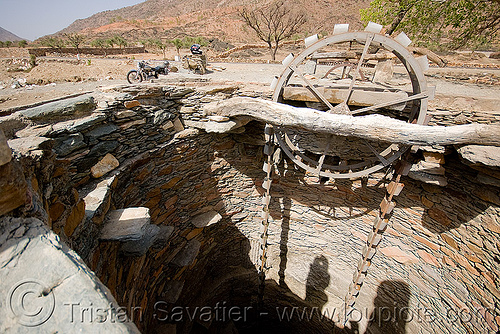 water well - near udaipur (india), bucket chain, chain pump, steps, stone, water well