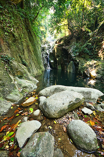 waterfall in gunung gading national park (borneo), boulders, falls, gunung gading, rock, stones, water, waterfall