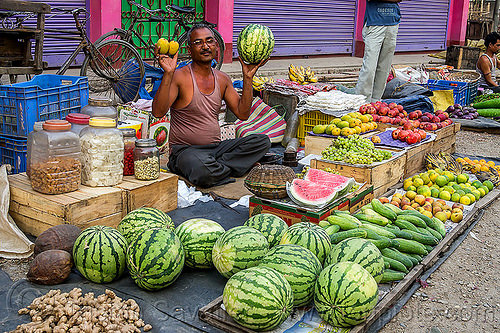 watermelons, cucumbers and fruits at street market (india), cross-legged, cucumbers, farmers market, fruits, gairkata, ginger, man, produce, sitting, stall, street market, street seller, vegetables, veggies, vendor, water melons, west bengal