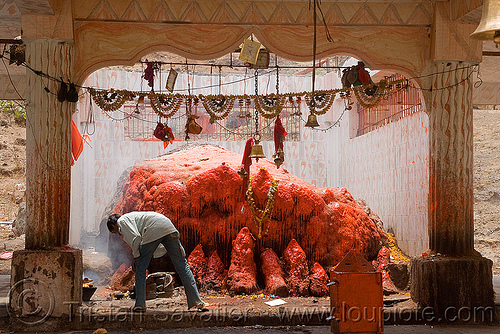 wax-covered shrine in temple (india), hindu temple, hinduism, red, shrine, wax