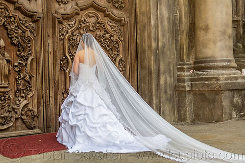 wedding dress with long veil - manila (philippines), bride, door, long veil, manila, philippines, san augustin church, wedding dress, white, woman