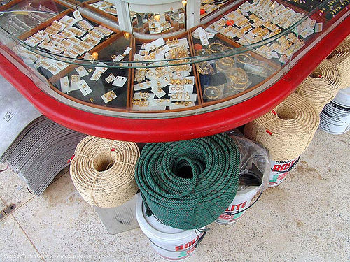 wedding rings and ropes - hardware store - thailand, hardware, jewelry, marriage, ropes, shop, store, thailand, tied, wedding rings