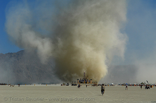 wednesday's giant dust devil behind the man - burning-man 2006, burning man, dust devil, dust storm, playa dust, the man, twister