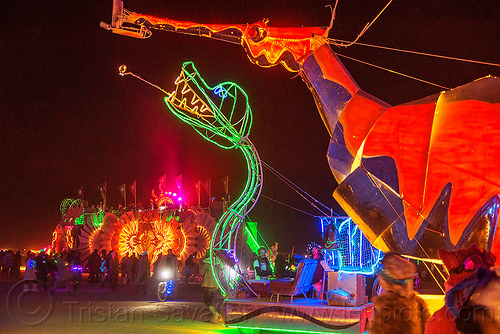 weedy sea dragon art car - burning man 2016, art car, burning man, glowing, gps camp, hypocampus, leafy sea dragon, mutant vehicles, night, seadragon, seahorse