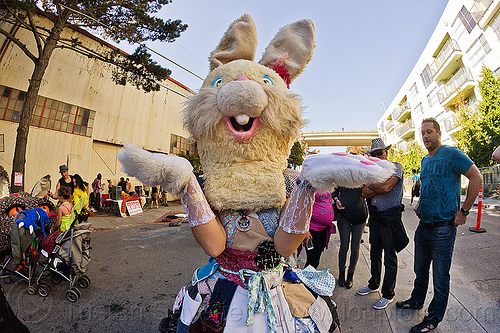 weird bunny costume, bunny costume, bunny mask, burning man decompression, furry, head, woman