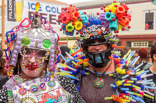 weird futuristic color plastic costumes (san francisco), colorful, costumes, headdress, helmet, men, plastic