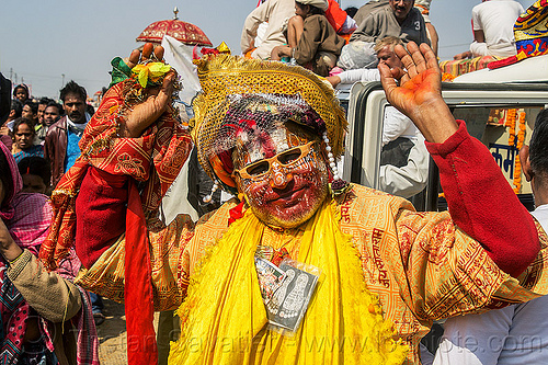 weird guru with face paint makeup - kumbh mela (india), face paint, face painting, guru, headdress, headwear, hindu, hinduism, kumbh maha snan, kumbha mela, maha kumbh mela, makeup, man, mauni amavasya, tilak, tilaka, veil